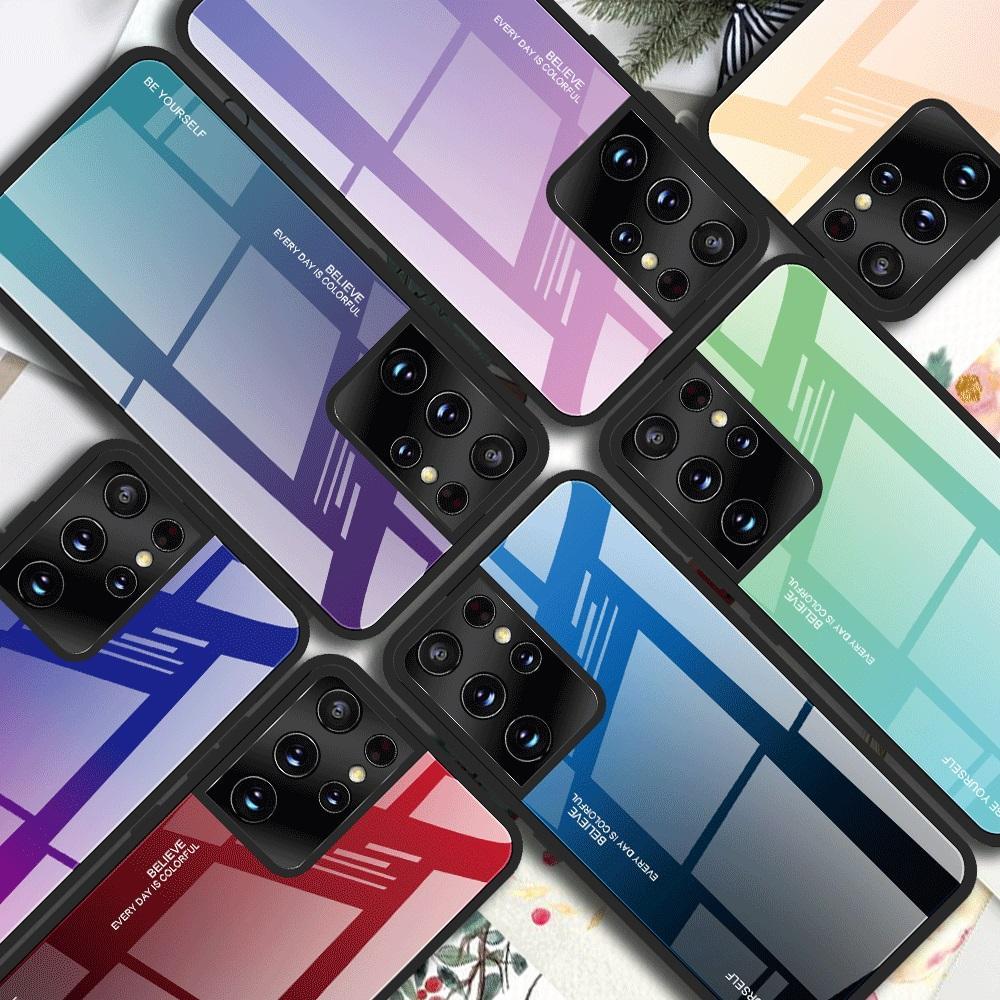 Renkli Temperli Cam Telefon Kılıfları Degrade Rampa iPhone 6 7 8x1 11 12 Pro Max S9 S10 S21 Ultra Kılıf