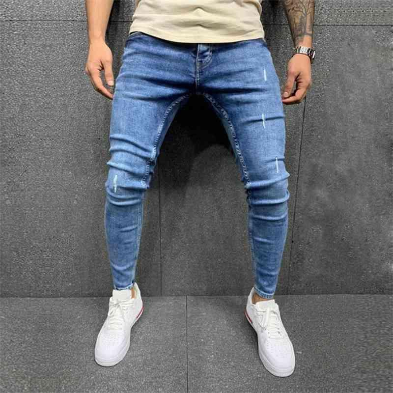 Jeans da uomo Jeans Blue Skinny Jeans Moda Denim Pantaloni Denim RIPPED Distressed Slim Pants Pantaloni da matita Pantaloni da moto Grande taglia