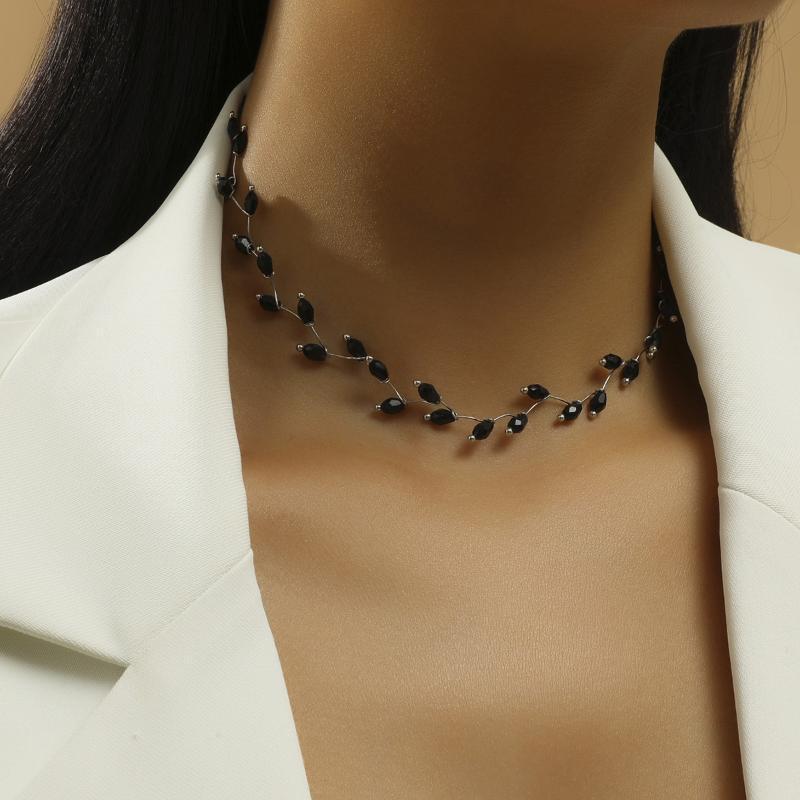 Mode halskette schwarz handgemacht einfache kreuz strang perlen shokers halsketten frauen schmuck großhandel