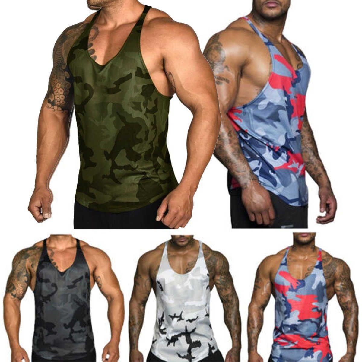 Men Running Vest Camo Muscle Tee Gy Bodybuilding Stringer Tank Top Workout Summer Sport Fitness