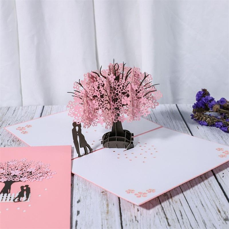 Carte d'anniversaire / Pop Up Card Rouge Maple Cadeaux Handmade Couple Pensant à votre carte Carte de mariage Carte de voeux OWB6326