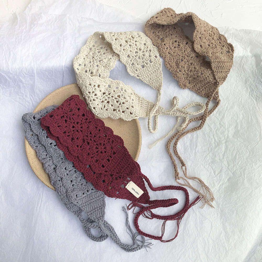 Pure Hand gewebt Mori-Frauen-Haarband, aushöhlen Baumwollfaden, Häkeln, Sommer-Bandage, Haarband, Netz, rote Kopfband-Stirnband