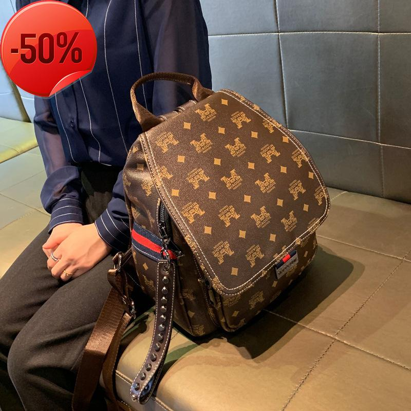Hong Kong Leather Women's bag 2021 new backpack fashion large capacity women's simple schoolbag