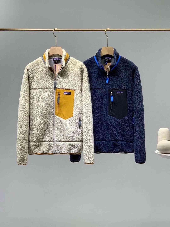 Erkek Hoodies Tişörtü Patagonya Kalın Sıcak Klasik Retro-X Sonbahar Kış Çift Modelleri Kuzu Kaşmir Polar Ceket Erkekler Kadınlar Için 7448