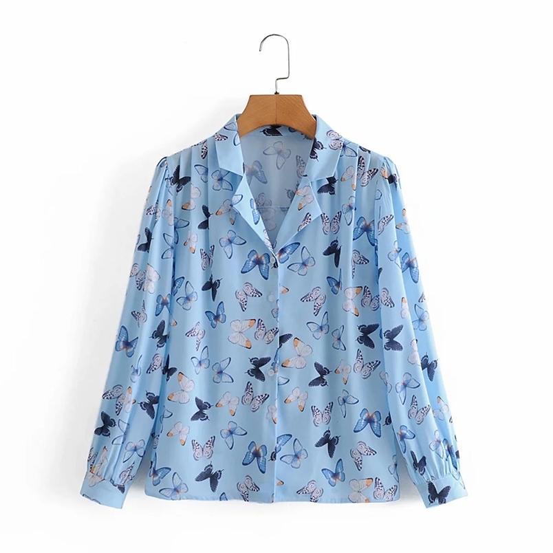 Vintage Chic Donne Camicetta Elegante elegante signore risvolto colletto manica lunga camicie casual Blusas Mujer 210531