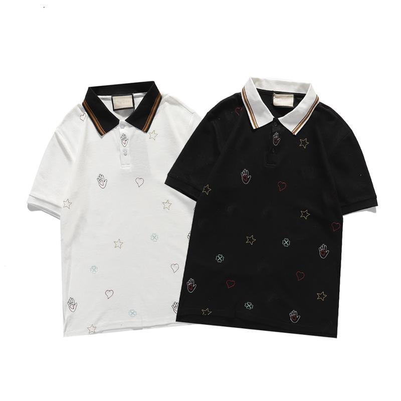 Hombres abejas bordadas polo camisa lujoso diseñador de manga corta camisetas de giro con cuello negro blanco polos