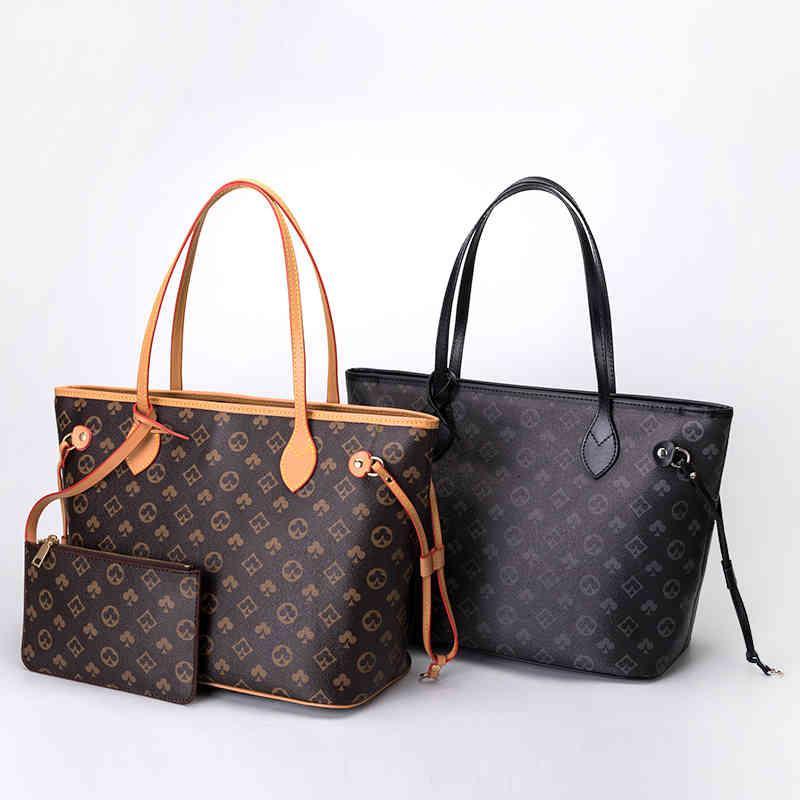 디자이너 고품질 간단한 여성 패션 핸드백 인쇄 대용량 토트 어깨 쇼핑백 무료 지갑