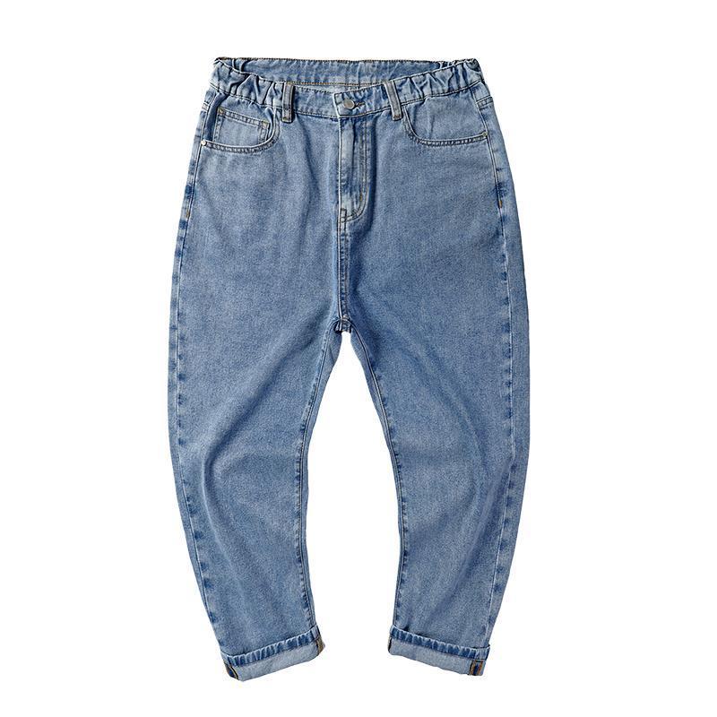 Plus-Size Elastizität Jeans Koreanische Welle Harem Elastische Taille Große Größe Männer Wear Plus-Size-Hosen Fat Knöchelband 46 48