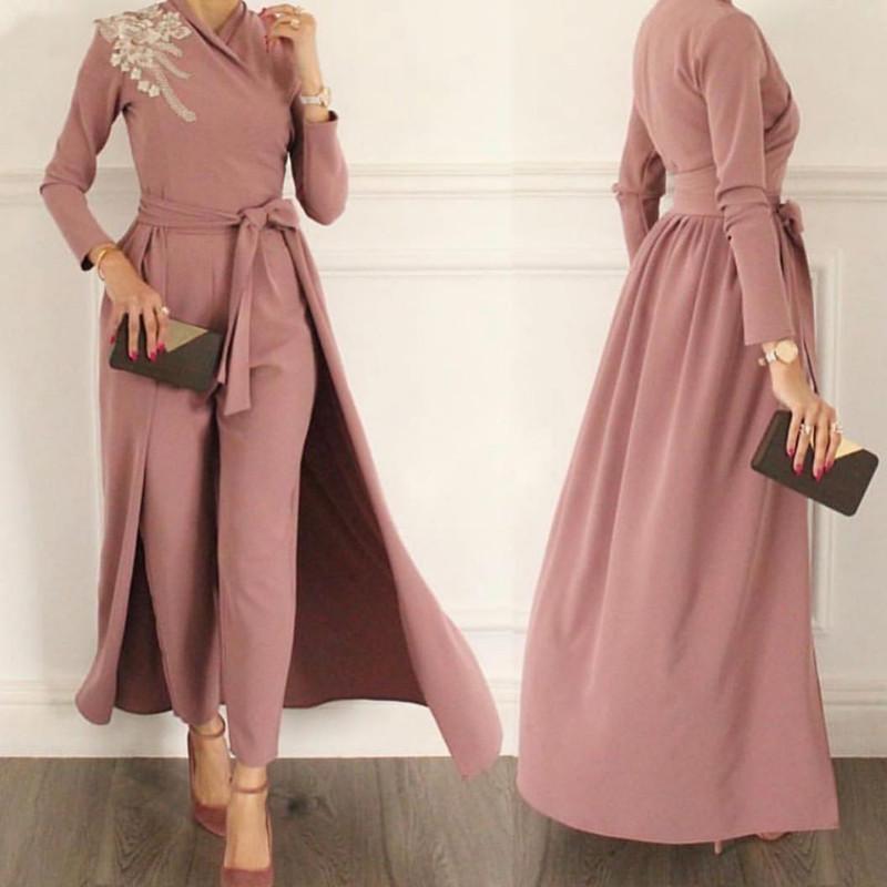탈착식 치마 긴 소매 꽃 무슬림 겸손한 가운 드레스 공식 파티 착용 바지 양복