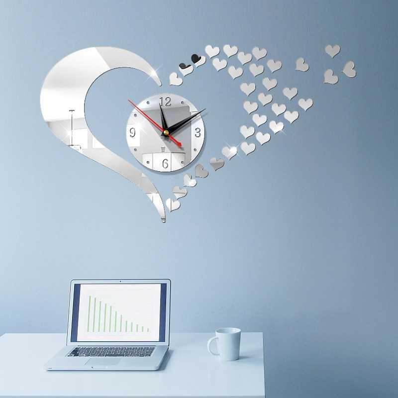 Kalp Şekli DIY 3D Duvar Saati Stereo Yaratıcı Akrilik Büyük Dijital Oturma Odası Ayna Çıkartmalar Ev Modern Dekor Saatler