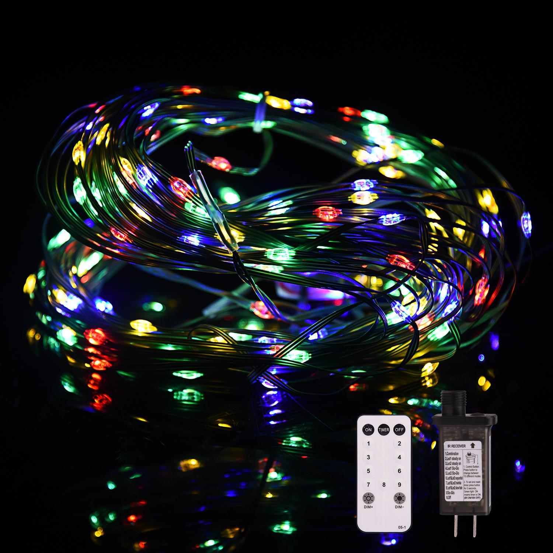Girealo 200 LED Noel Ağacı Şerit Işık Açık / Kapalı Ultra-Parlak Aydınlatmalar, Bahçe Parti Süslemeleri için Su Geçirmez Yeşil Tel 8 Modları - Çok Renkli