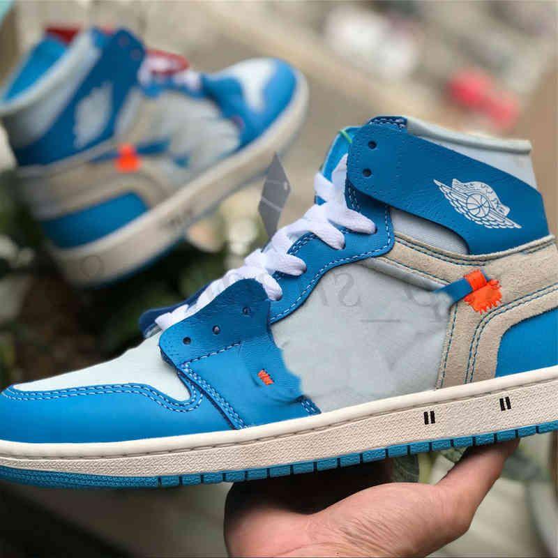 Jumpman 1 1S OG High Dark Mocha Botas Zapatos Travis White University Blue UNC Mid Chicago Toe Mujeres Entrenadores Zapatillas de deporte 36-46