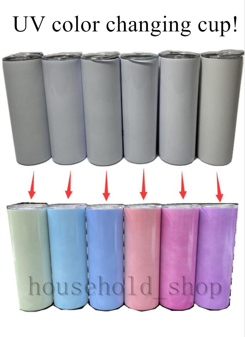 Cor UV que muda a sublimação 20oz copo reto de aço inoxidável garrafa de água isolamento caneca A02
