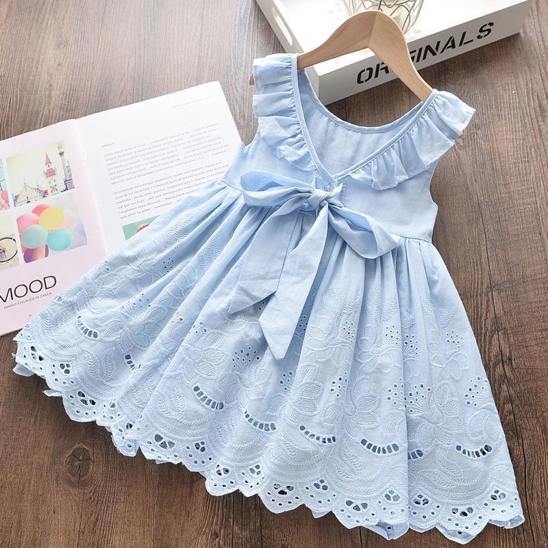 Spitze Kinder Frühlingskleider Coemomes Langarm Kinder Kleidung Bogen Vestidos Design Casual O-Neck Baby Kleid Mädchen