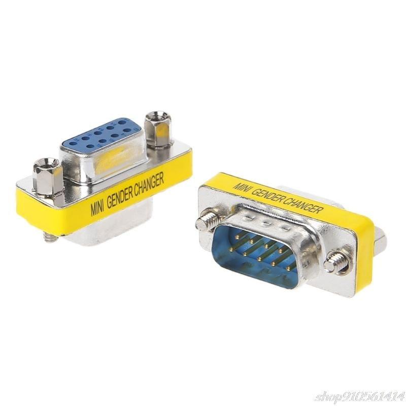 2Pcs DB9 MINI Gender Changer Adapter 9Pin RS232 Com D-Sub VGA Plug Connector N04 20 Drop Computer Cables & Connectors