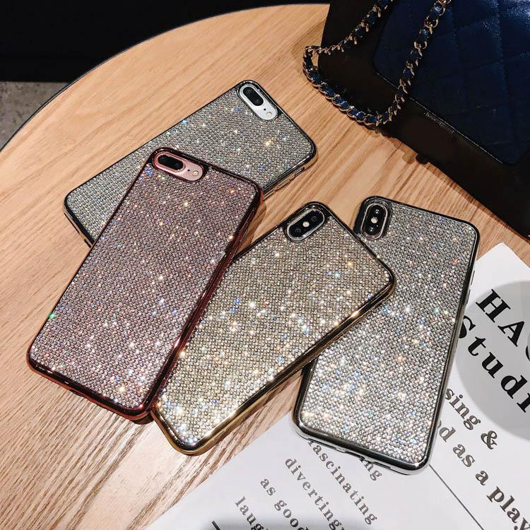 Diamond Bling Cell Phone Cases Soft TPU Rhinestone Glitter Cover Plating Case Anti-Drop per iPhone 7 8plus xr x max 11 12 Pro