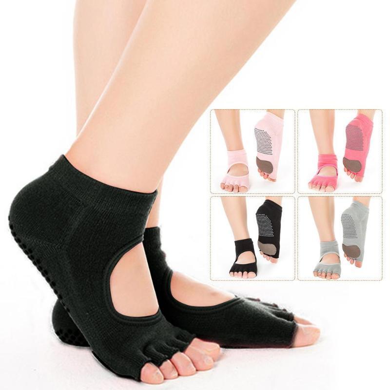 Sports Socks Women Yoga Backless Five Toe Anti-Slip Ankle Grip Dots Pilates Fitness Gym Ladies For Ballet Dance