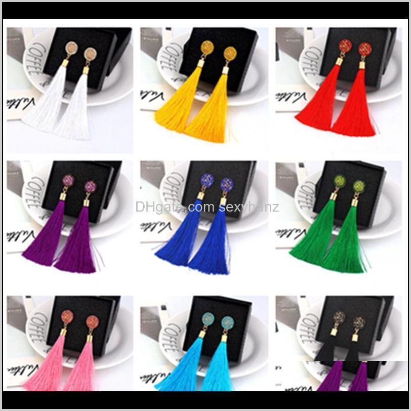 & Chandelier Boho Crystal Long Tassel Drop Earrings For Women Ethnic Geometric Rose Flower Sign Dangle Statement Earring Fashion Jewel 7Hwsh