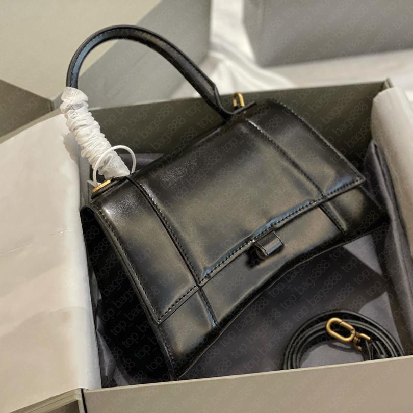 Handtasche Designer Tasche für Frau Echtes Leder Rindsleder Cross Body Shoulder Plain Schwarz Stunden Glas Taschen