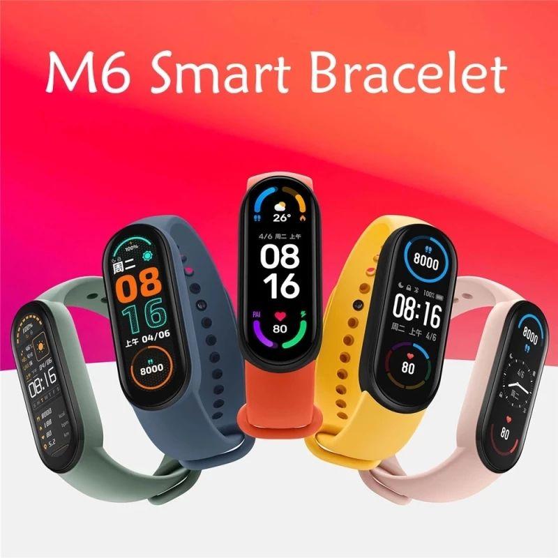 M6 스마트 팔찌 블루투스 4.0 화면 심박수 혈액 피트니스 트레이커 밴드 스포츠 방수 스마트 시계 팔찌 안드로이드 iOS