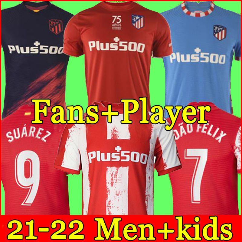 Top Tailandia Camiseta de fútbol del Atlético de Madrid 21 22 temporada en casa 3a camiseta 2122 JOÃO FÉLIX SUAREZ Correa camiseta de fútbol conjuntos para hombres y niños