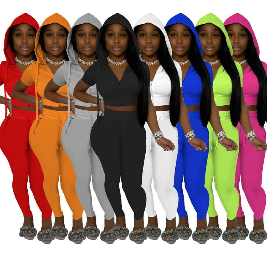 여성 Tracksuits 디자이너 두 조각 세트 단색 패션 후드 Zip 탑 반바지 조깅 정장 클럽 캐주얼 짧은 소매 꽉 바지 스포츠 복장 877