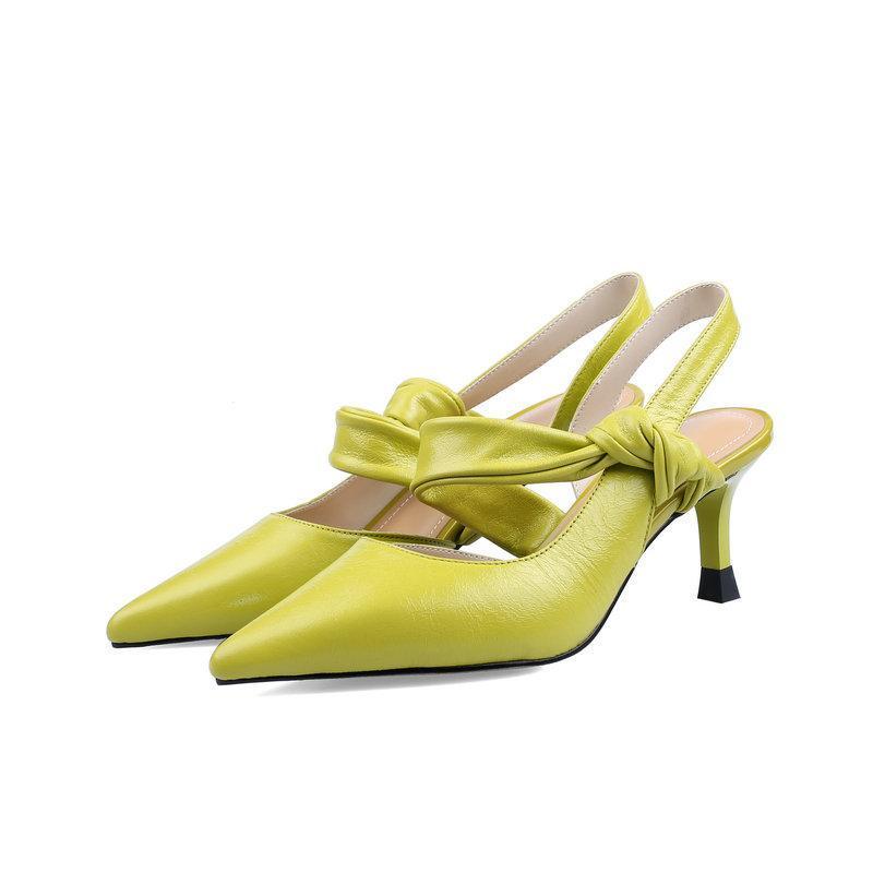 Zarif Tatlı Hakiki Deri Kadın Ayakkabı Sivri Toe Yüksek Topuklu Üzerinde Kayma Metal Toka Yaz Sonbahar Kadın Elbise Pompalar