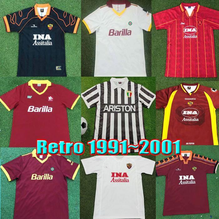 ريترو روما لكرة القدم جيرسي 1996 1997 1997 1999 1999 1999 1994 1994 Totti Nakata Batistuta Candela Montella Balbo 91 92 94 Rome خمر لكرة القدم قميص Maglia da Calcio Kits