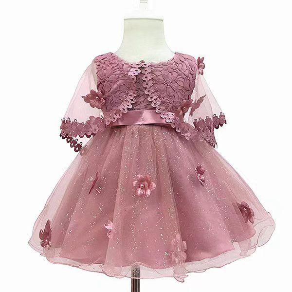Flower Toddler Baby Girl Infant Princess Wedding Dress lace tutu Kids Party Vestidos for 1st birthday