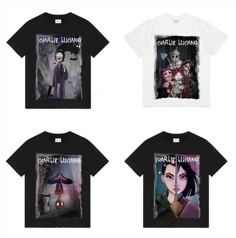 Kadın Erkek Gömlek 1: 1 Yüksek Kalite Tees Hip-Hop Streetwear Erkek Charlie Luciano Caual T Gömlek
