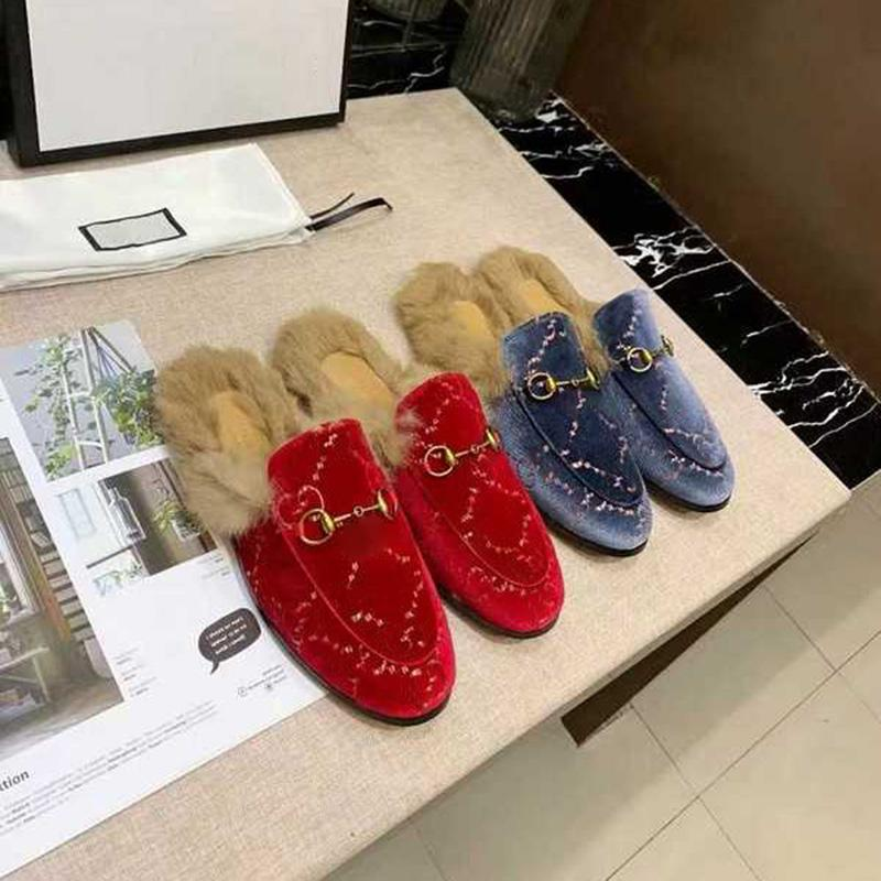 Classic Winter Flip flops Rabbit Pyt Pyt Pyt Pyt da uomo Fashion Flat Slides Lussurys Designer Silils Real Leather Womens Womens Sandali da donna con scatola taglia 38-46
