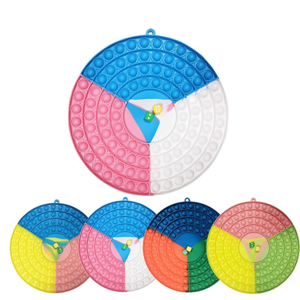 26cm Fidget Push Bubble Puzzle Colour Patchwork Circolo Scacchiera Bambone Bolle Bolle Sensoriale P Giocattoli Multiplayer Grande Dice Chessboard Bubble
