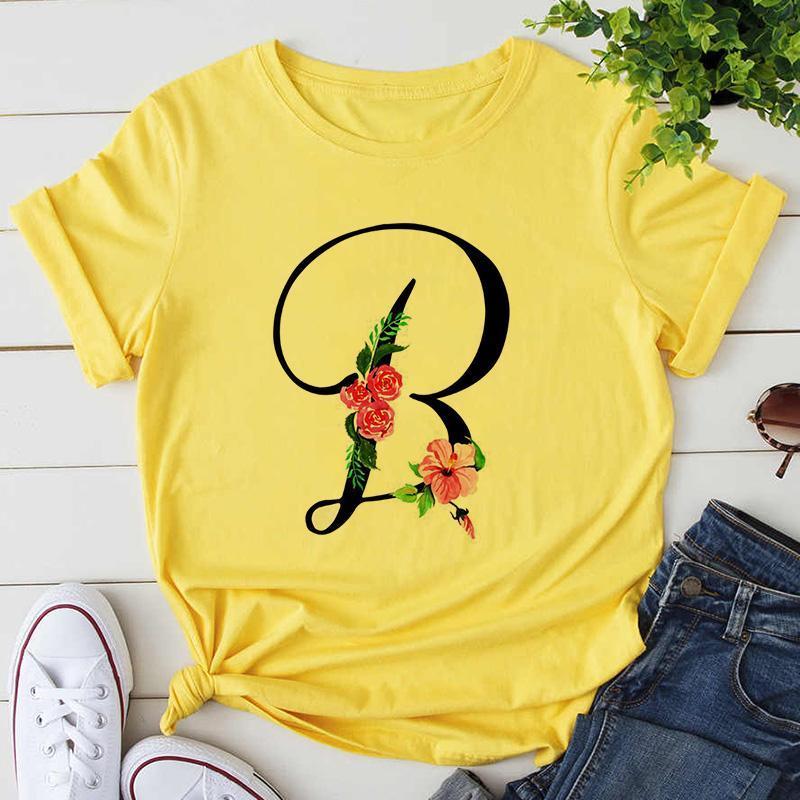 Kadın T-shirt Özel Adı Mektubu Kombinasyonu Yüksek Kaliteli Baskı Çiçek Yazı Tipi A B C D E F G Kısa Kollu Sarı Tshirt