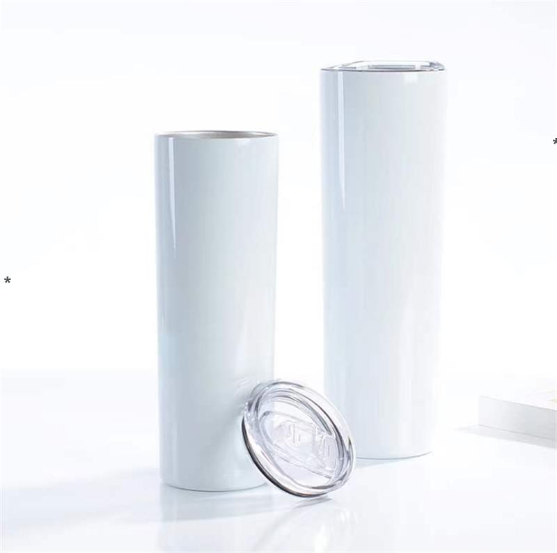 20oz 30oz Sublimation Straight Tumble Stainless steel blank white skinny cup with lid straw Cylinder water bottle coffee HHB6369