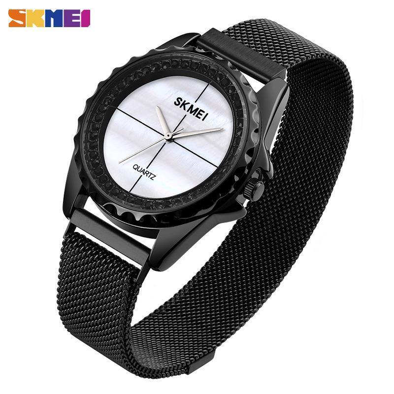Wristwatches SKMEI Rhinestone Inlaid Quartz Watches Women Fashion Waterproof Magnet Mesh Band Watch For Ladies Reloj 1710