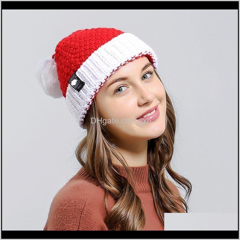 Festive Party Supplies Home & Garden Drop Delivery 2021 Hats Knitting Santa Warm Winter Adults Children Xmas Tree Snowflake Cap Christmas Kni