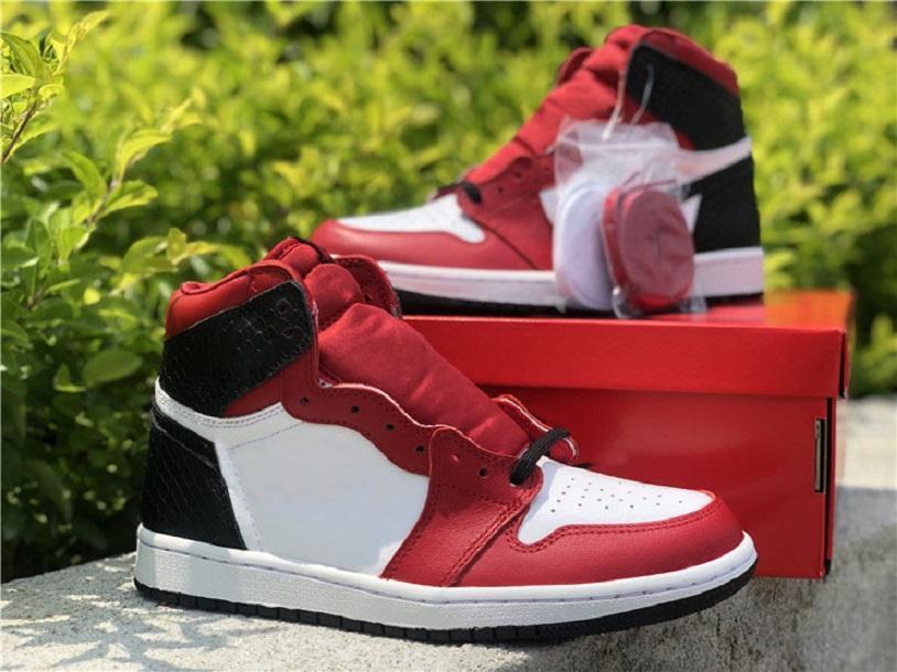 2021 Release 1 Yüksek OG WMNS Saten Yılan Basketbol Ayakkabı CD0461-601 1 S Gym Kırmızı Beyaz-Siyah Erkek Kadın Açık Spor Sneakers Orijinal Kutusu