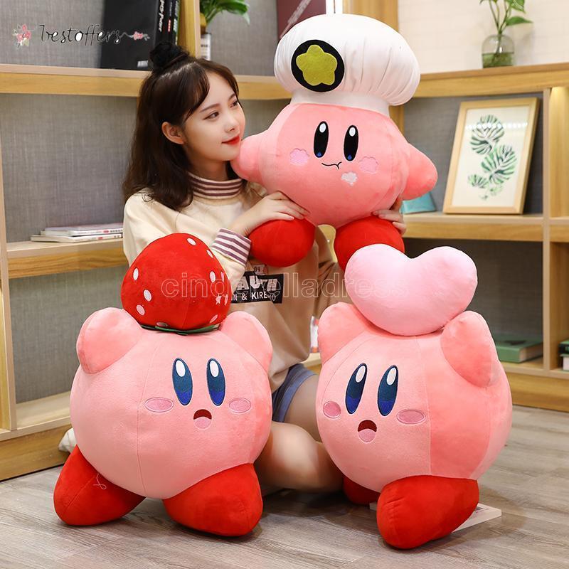 게임 Kirby Adventure Kirby Plush 장난감 요리사 딸기 스타일 소프트 인형 어린이를위한 동물 장난감 생일 선물 홈 장식 DHL BY02