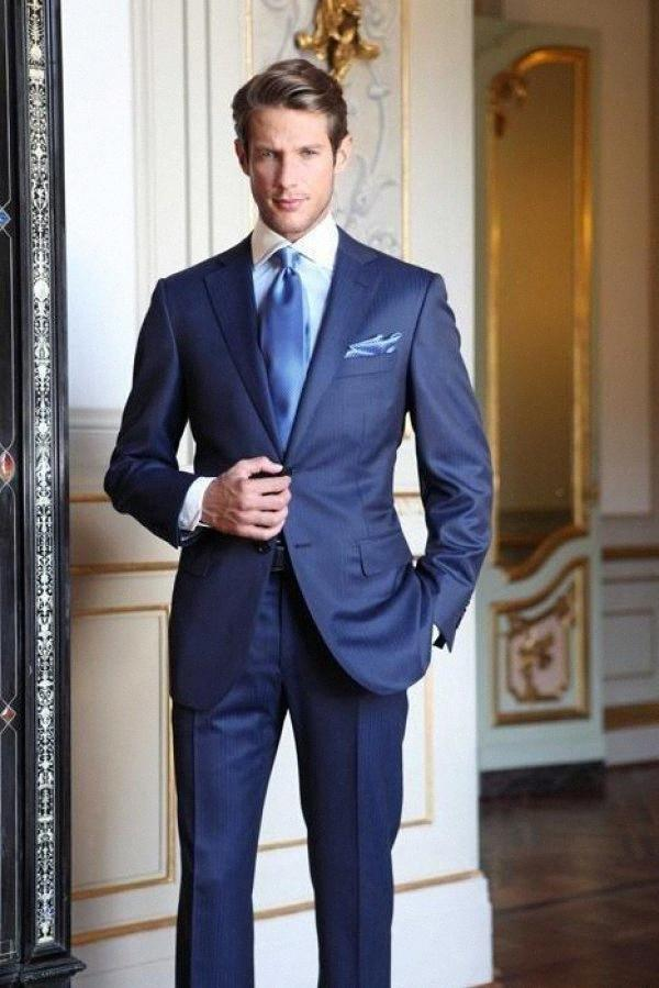 Custom Custom Made Royal Blue Groom Tuxedos Custom Official Custom Officiel 2016 Formel Hommes Costume Bridegroom Costume d'affaires (veste + pantalon + cravate) Q0JG #