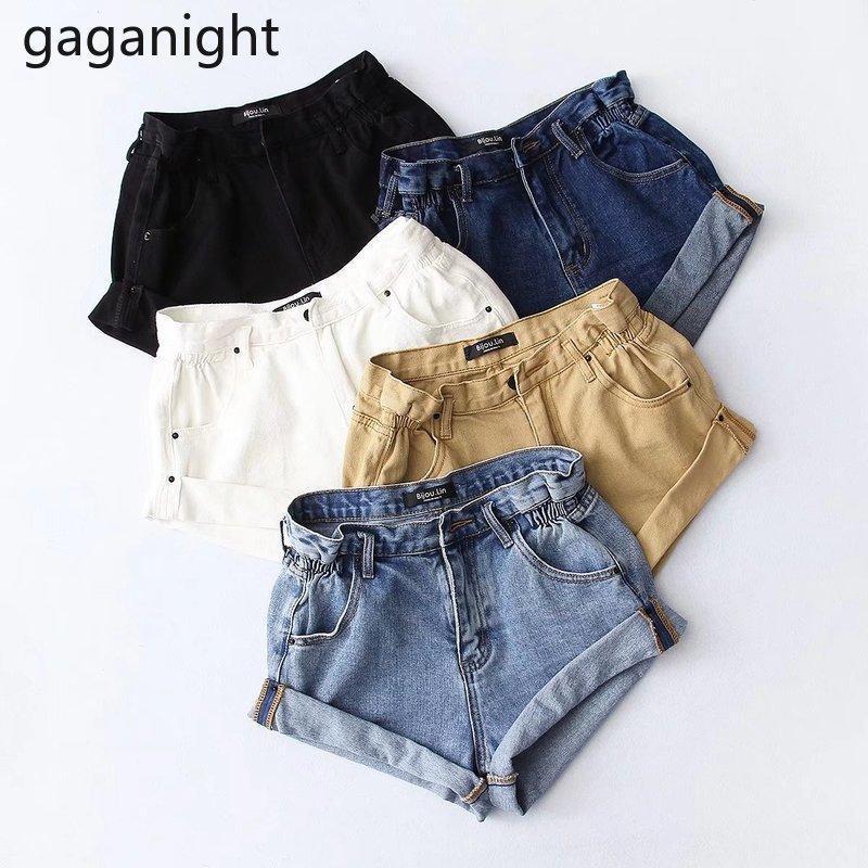 Gaganight Casual Свободные Женщины Джинсы короткие Летние Плюс Размер Девушки Джинсовые Шорты Мода Высокая талия Chic XXS-L Сплошная ROPA Mujer New