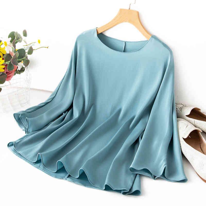 Manteau pour femmes 93% Silk 7% Spandex 19mm d'épaisseur Type en vrac Top Blouse à col rond 3/4 manches bleu m l xl mm020