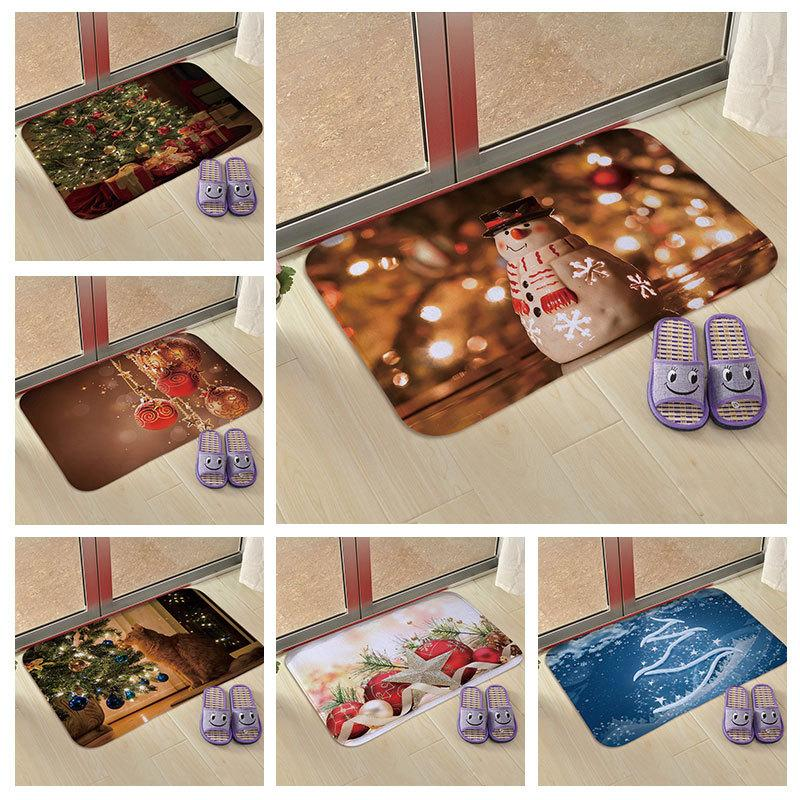 6 Styles Christmas Floor Mats Snowman/Bell Printed Kitchen Bedroom Entrance Living Room Floor Flannel Mats Non-slip Rug