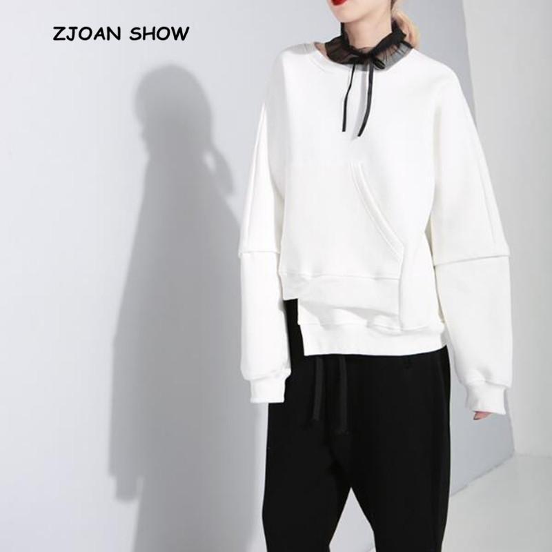 Harajuku ourlet irrégulier Sweatshirts Noir Grand Taille Vintage O Coula Col Sweats à manches longues NOUVEAUX FEMMES Pulls de Jumper en vrac 210414