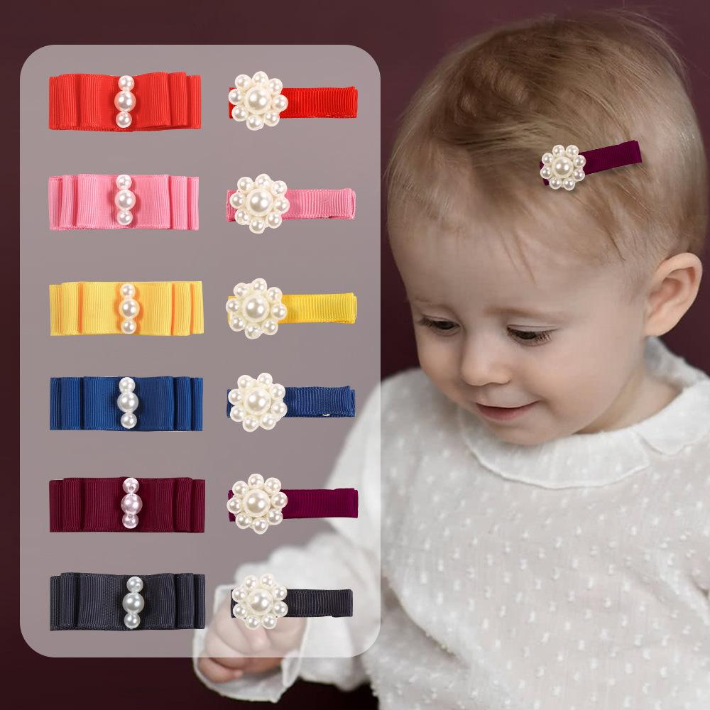 Free DHL MQSP Baby Girl Newborn Pearl Hairpin Lovely Sweet Hair Accessories Kids Princess Kawaii Barrettes Hairclips Party Supplies Child