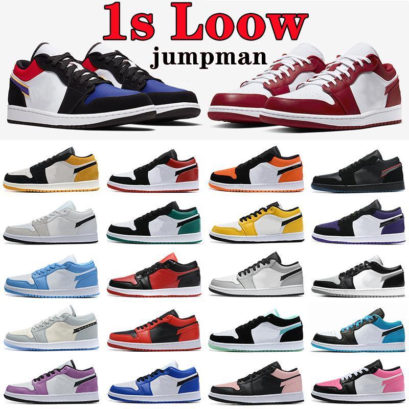 Air jordan 1 low shoes Jumpman 1 low mens basketball shoes Travis scotts x fragment University Blue Gold Washed Denim Chicago Court Purple UNC 1s men women trainers sports sneakers