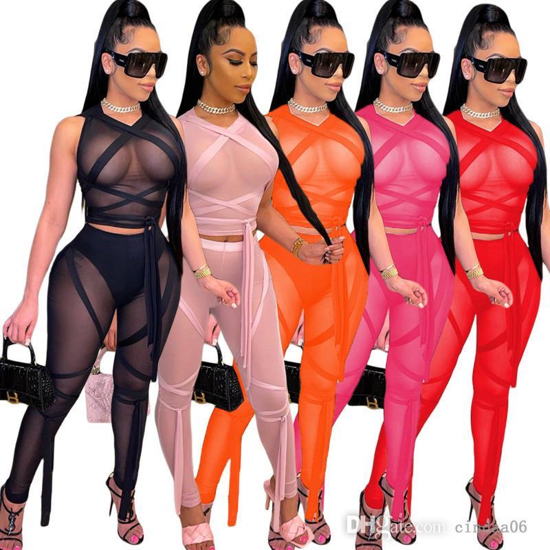 Kadınlar Seksi Iki Parçalı Pantolon Set Eşofman Tasarımcı Giyim Ekran Perspektif Bandaj Katı Renk Kolsuz Kıyafetler