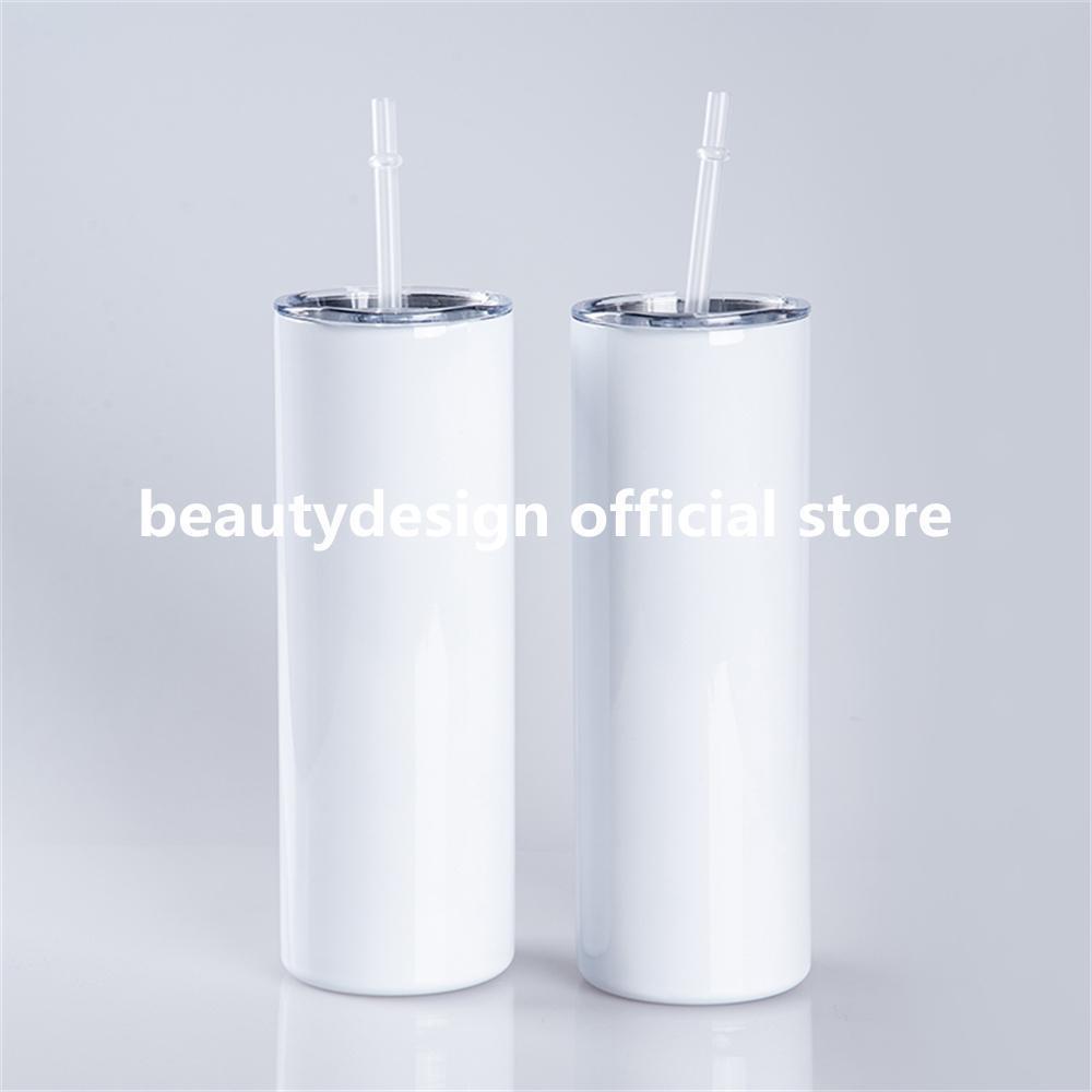 DROIT!!! 20oz BIY SUBLIMATION Straight Tumblers avec bouteilles d'eau en acier inoxydable en acier inoxydable de paille Doubles tasses isolantes