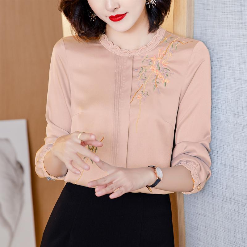 Koreanische Frauen-Hemd-Chiffon-Blusen für langärmlige Hemden weibliche top weiße Spitze Pullover Bluse-Tops Plus Größe Frau Frauen