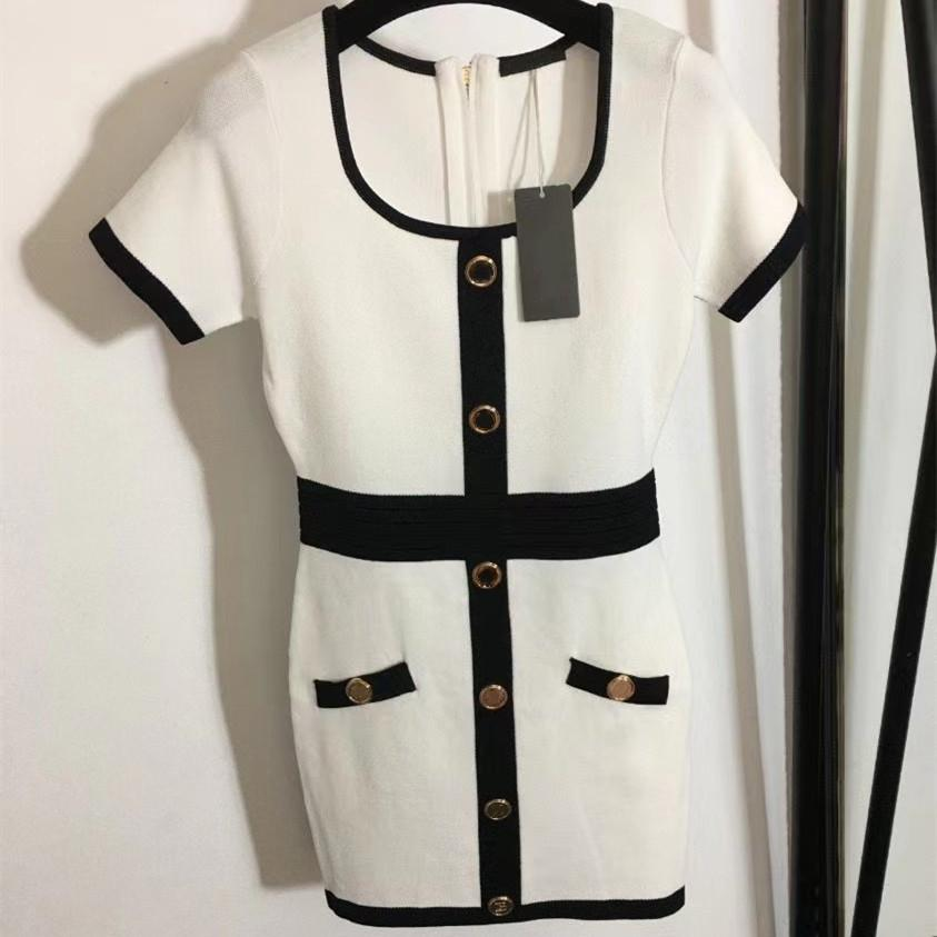 2021 top-quality monogram single-breasted dress with trimmed waist square neck knitted short-sleeved black and white summer casual dresses size S-L