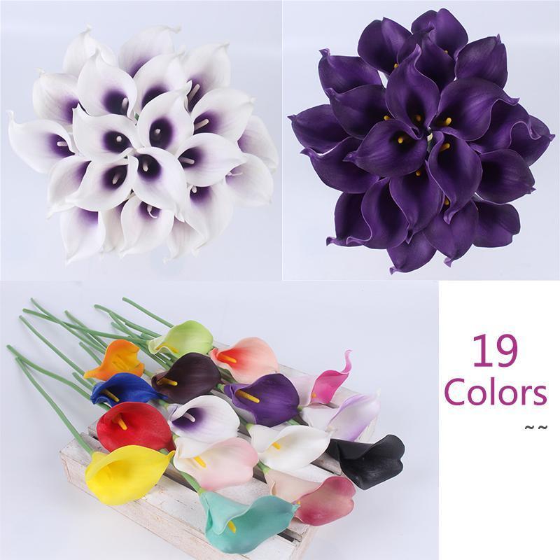 21pcs / lot Natural Real Touch Flower Bouquet Calla giglio decorazione di nozze decorazione falsa per la casa festa festival decor 19 colori OWD6069